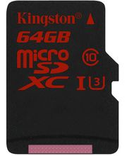 Kingston microSDXC 64GB Class 10/UHS-I U3, zápis 80MB/s + SD adaptér